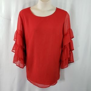 Red pull over blouse sz2x!